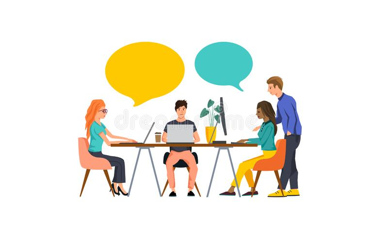 Liten Team Of People Starting A affär stock illustrationer
