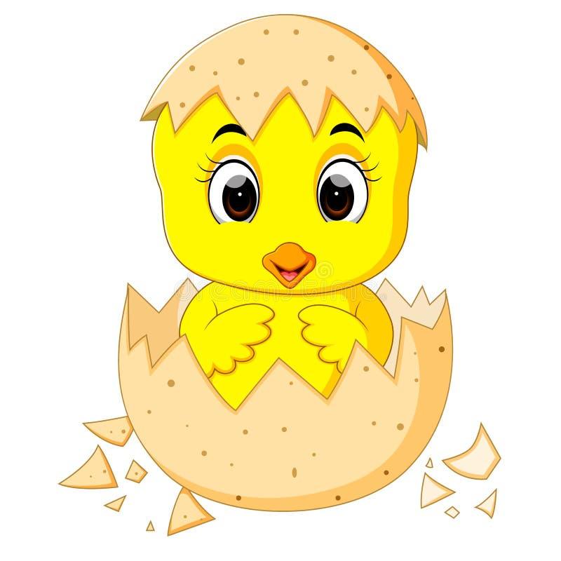 Liten tecknad filmfågelunge som kläckas från ett ägg stock illustrationer