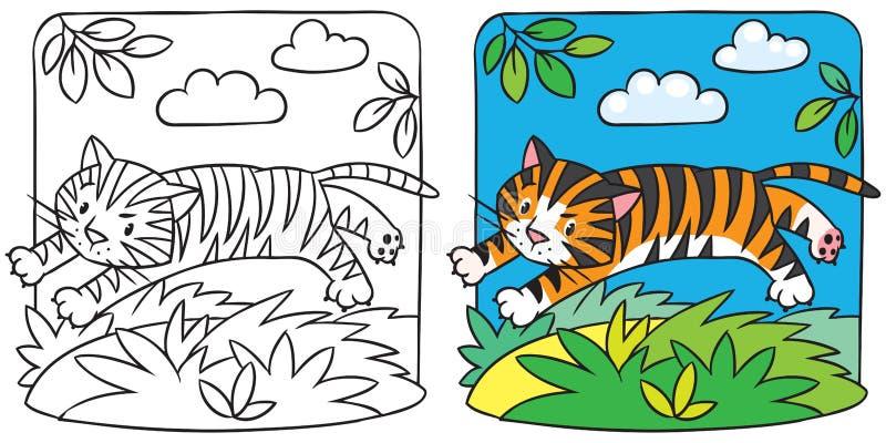 Liten tigerfärgläggningbok stock illustrationer