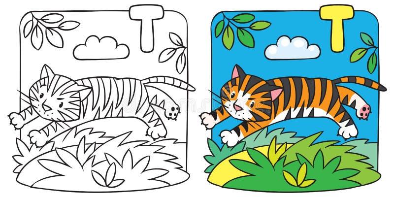 Liten tigerfärgläggningbok Alfabet T royaltyfri illustrationer