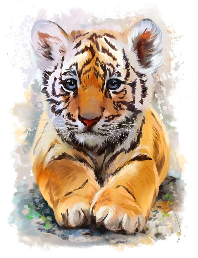 Liten tigervattenfärgmålning royaltyfri illustrationer