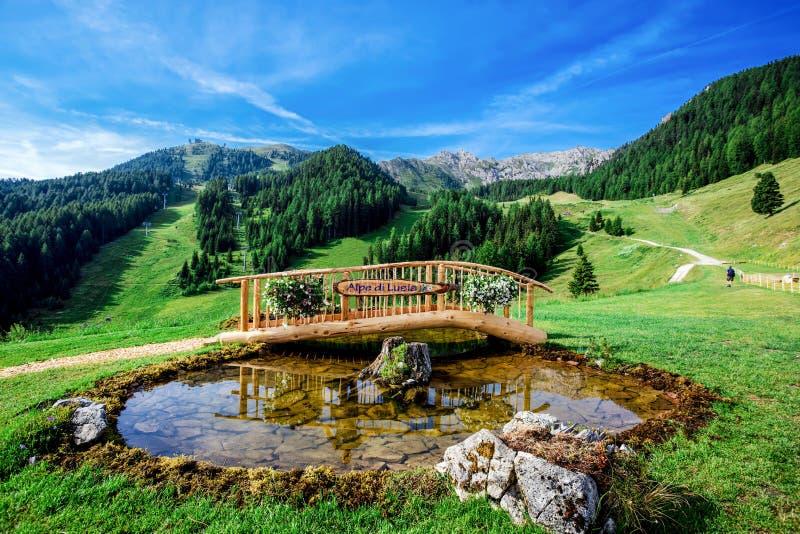 Liten träbro med ett damm i härliga bergiga dolomitesbakgrundsPasso en Lusia/Dolomites/Trentino Alto-Adige/Italien royaltyfria bilder