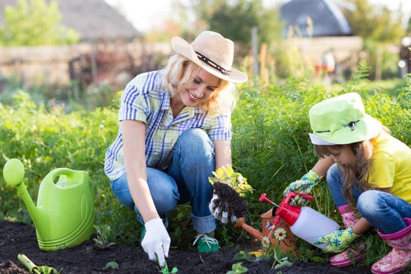 Liten trädgårdsmästareflicka med modern som bevattnar på near hus för gräsmatta arkivfoto
