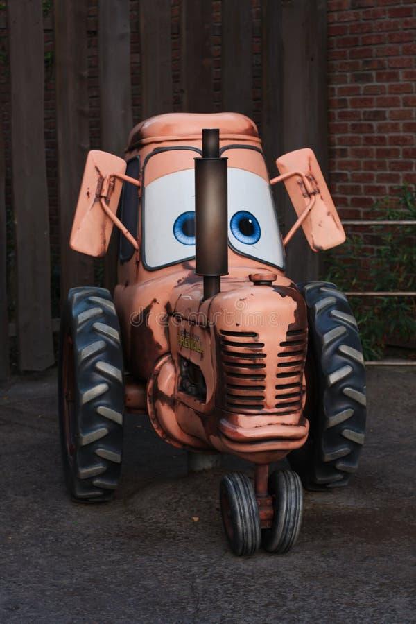 Liten traktor på Disney det Kalifornien affärsföretaget fotografering för bildbyråer