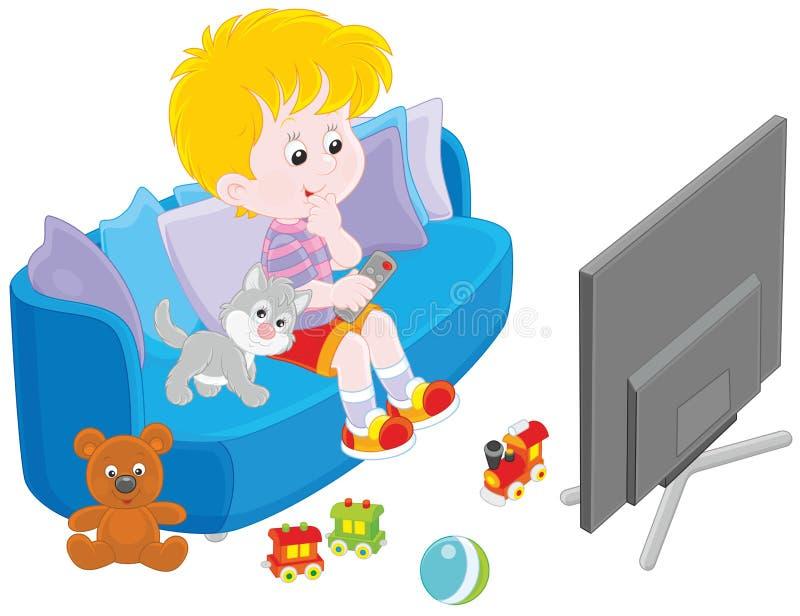 Liten TVtittare stock illustrationer