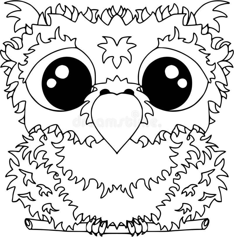 Liten uggla i plan stil Symboler för rengöringsdukdesign Djur och fåglar färgläggning arkivfoton