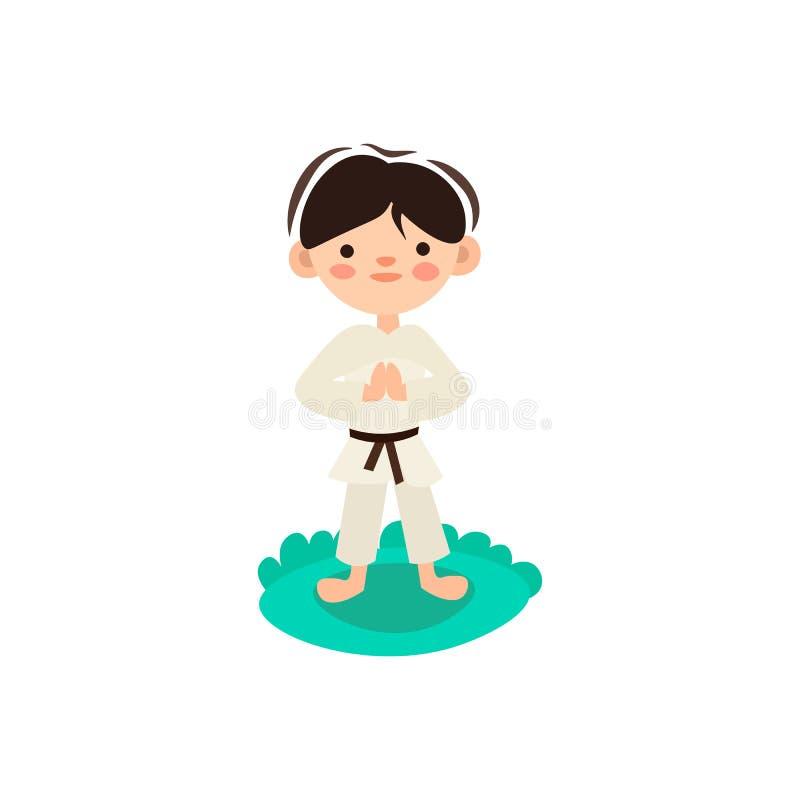 Liten unge, barn som förbereder sig för karateutbildning Pojke som gör krigs- kampövning på grönt gräs Isolerad vektor stock illustrationer
