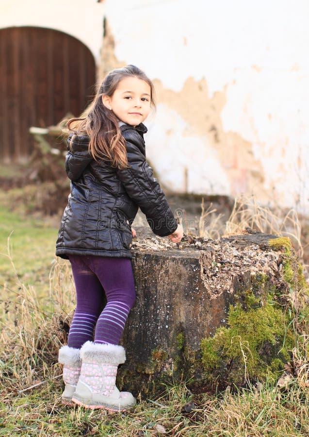 Liten unge - flicka som spelar med stubben royaltyfri foto