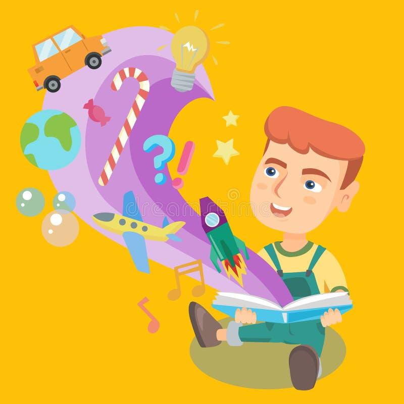 Liten unge som läser en bok med objekt som ut flyger vektor illustrationer