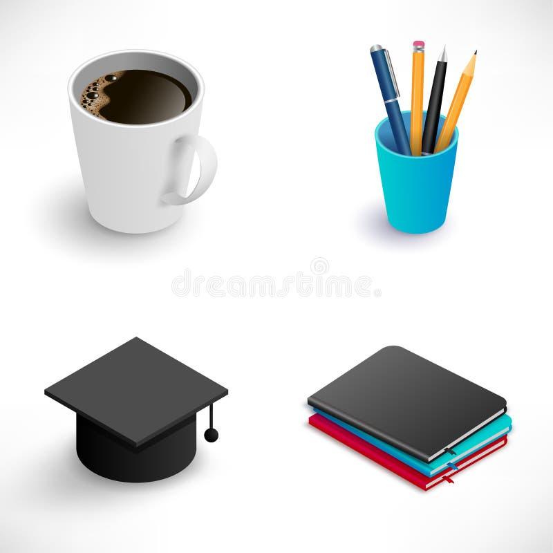 liten uppsättning för utbildningssymbol royaltyfri illustrationer