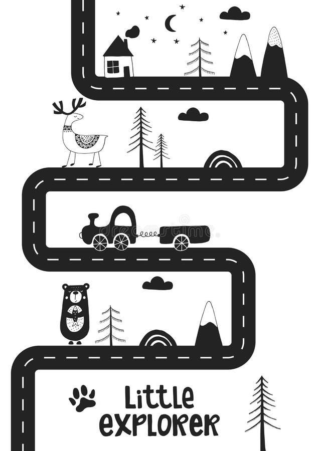 Liten utforskare - gullig hand dragen barnkammareaffisch med vägen, vilda djur och bilen Monokrom vektorillustration stock illustrationer