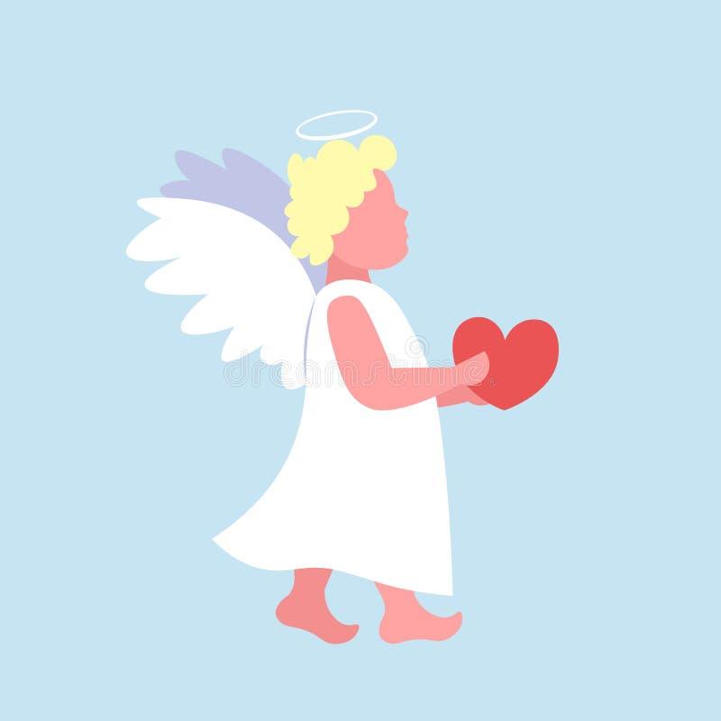 Liten valentinängelkupidon som mycket rymmer teckenet för tecknad film för rött för valentindag för hjärta lyckligt gulligt flyg  stock illustrationer