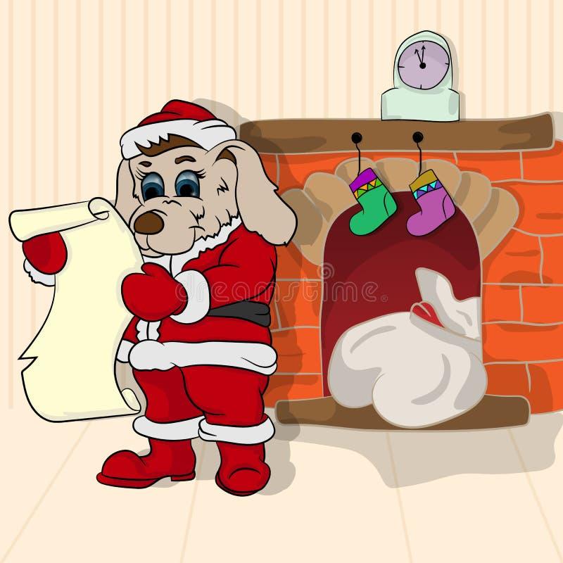 Liten valp i rollen av Santa Claus vektor illustrationer