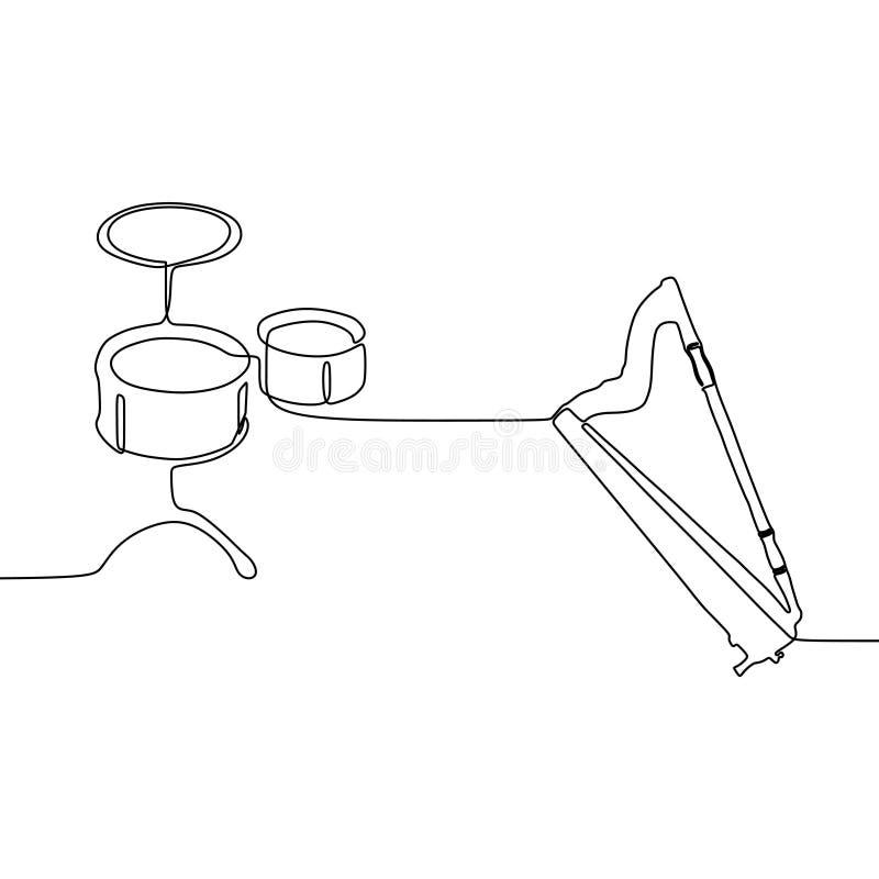 liten vals- och för harpa en linje fortlöpande linje traditionell uppsättning för musikinstrumentvektorkontur för musikaffischtav royaltyfri illustrationer
