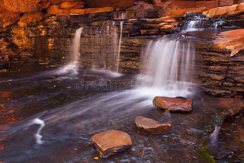 Liten vattenfall i Karijini NP, västra Australien royaltyfri foto