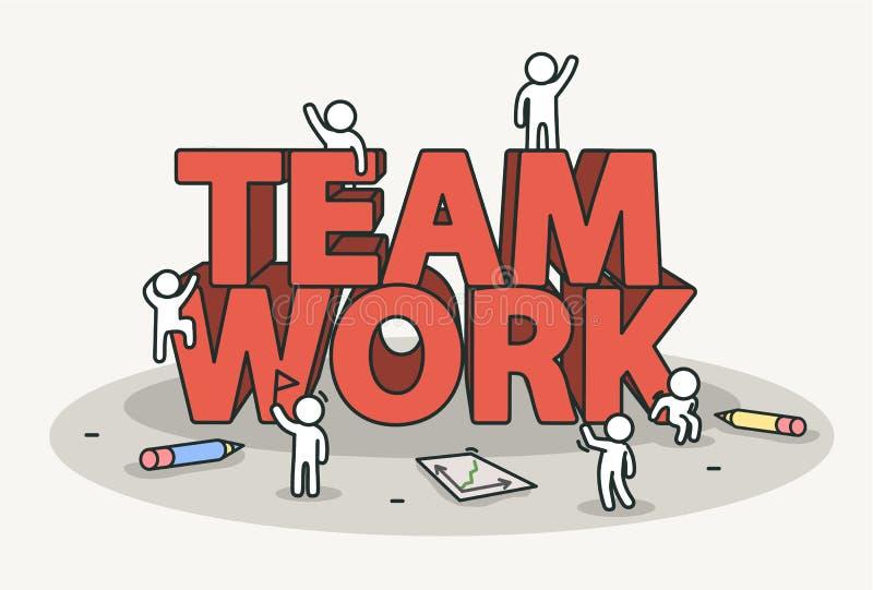 Liten vit med lagarbetstext Teamwork- och framgångbegrepp royaltyfri illustrationer