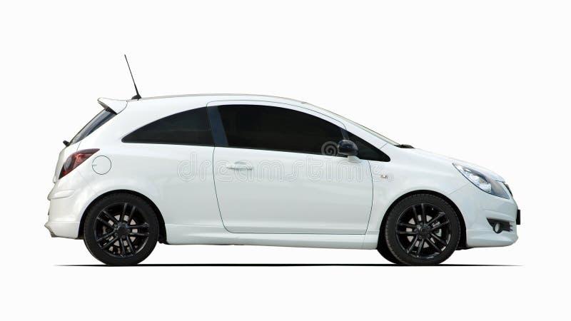 Liten vit sportbil royaltyfria bilder