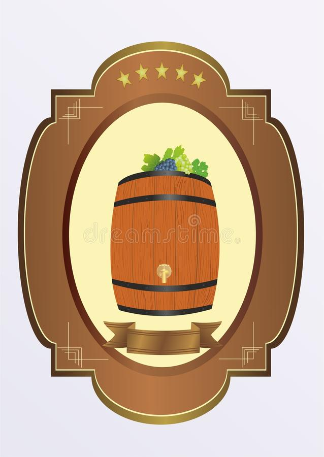 liten wine för cask stock illustrationer