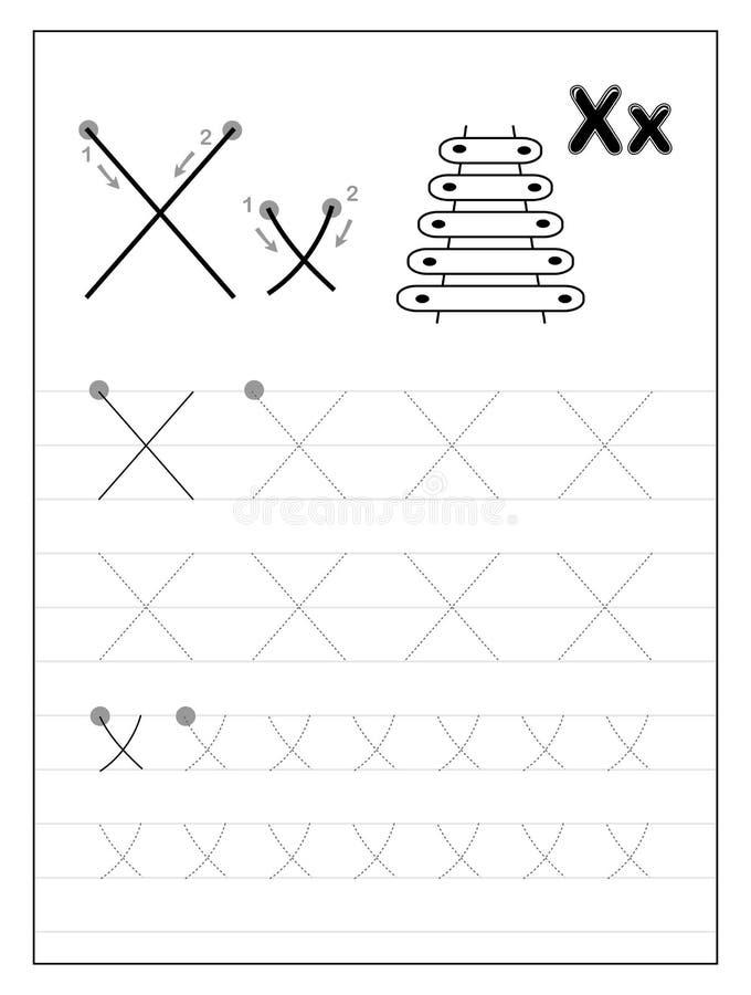 Litera X alfabetu śledzenia Czarno-białe strony edukacyjne dla dzieci Arkusz do drukowania dla podręcznika podrzędnego ilustracji