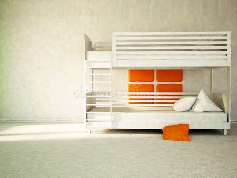Litera blanca, parte del dormitorio stock de ilustración