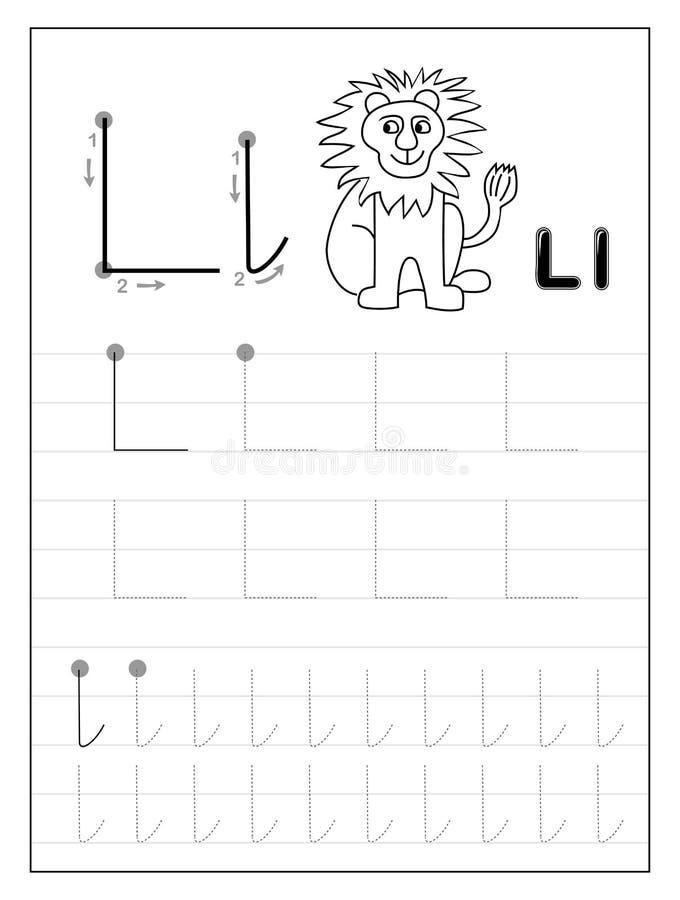 Litera L alfabetu śledzenia Czarno-białe strony edukacyjne dla dzieci Arkusz do drukowania dla podręcznika podrzędnego royalty ilustracja