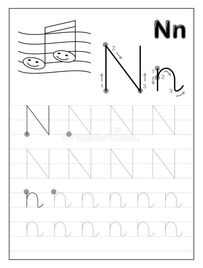 Litera N alfabetu śledzenia Czarno-białe strony edukacyjne dla dzieci Arkusz do drukowania dla podręcznika podrzędnego ilustracji