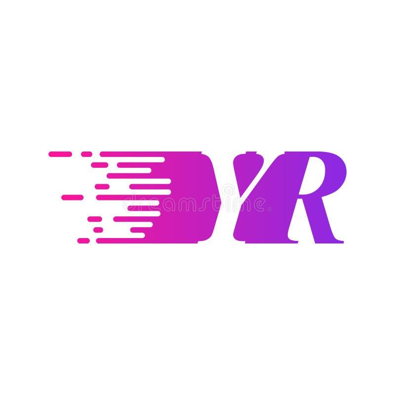 Litera początkowa YR szybko poruszający się wektor logo, fioletowy różowy kolor ilustracja wektor