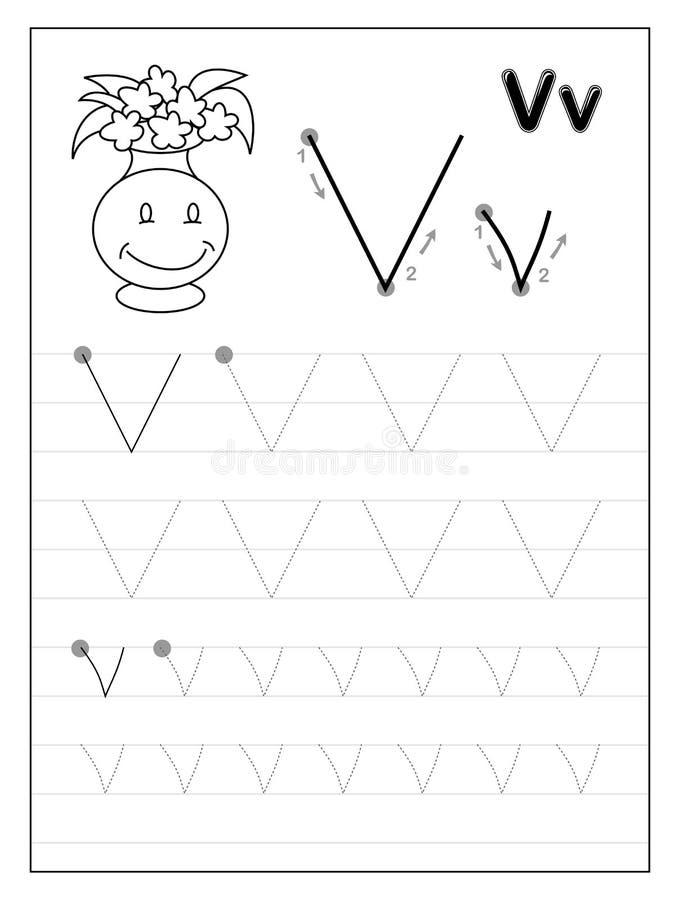 Litera V alfabetu śledzenia Czarno-białe strony edukacyjne dla dzieci Arkusz do drukowania dla podręcznika podrzędnego royalty ilustracja