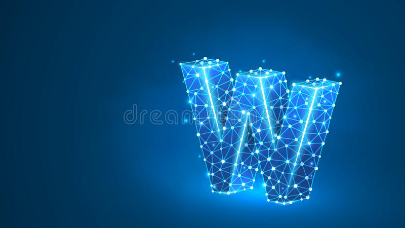 Litera w Sieć WWW, domena, www, Internet, adres internetowy, online, witryna internetowa, profil, koncepcja technologiczna Abstra royalty ilustracja