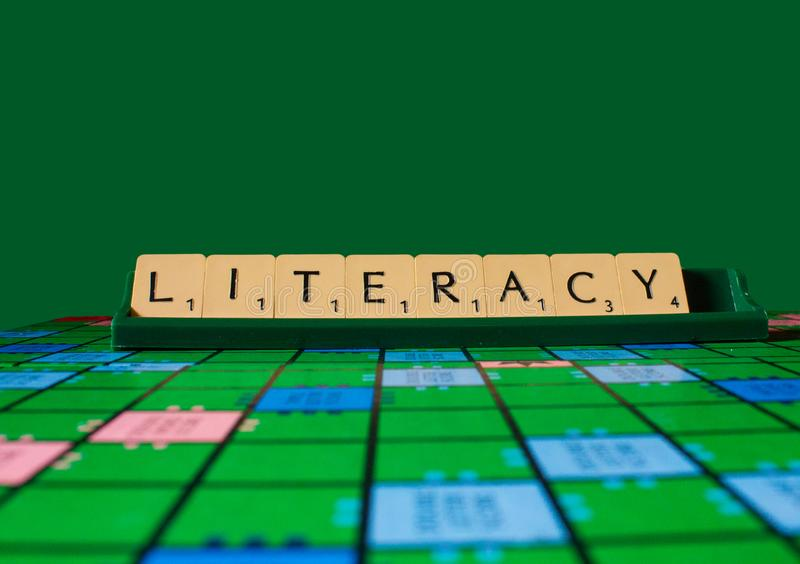 Literacy word on scrabble for use with designs. Or as wallpaper background stock image