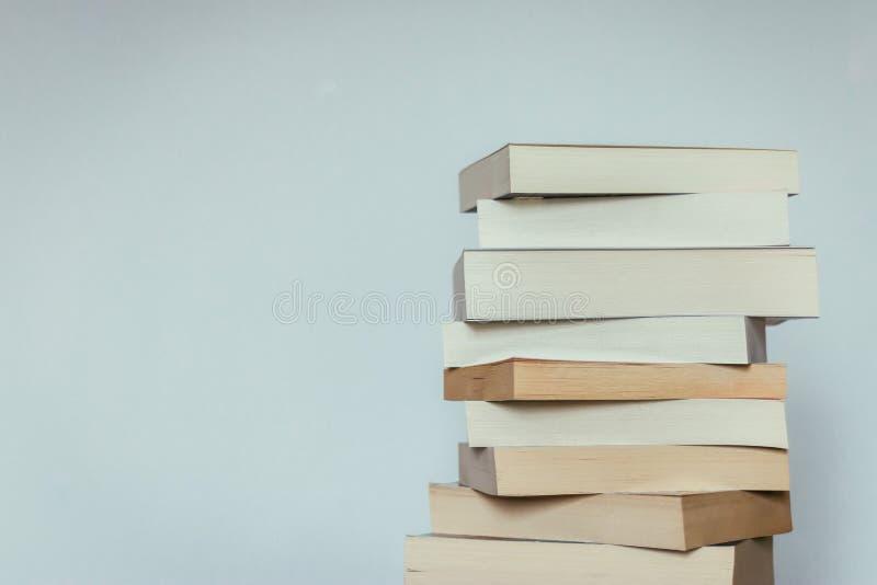 Literatura para el estudio: Pila de libros; fondo gris imagenes de archivo