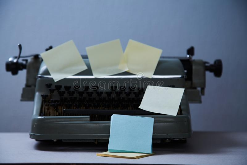 Literature blogging, blog and blogger or social media concept: old typewriter and stickers royalty free stock photo
