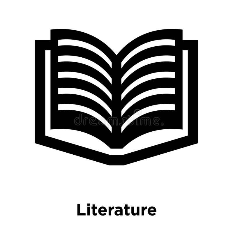 Literature icon vector isolated on white background, logo concept of Literature sign on transparent background, black filled vector illustration