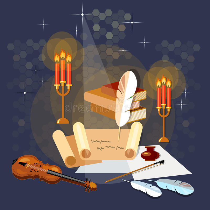 Literature poetry ancient scroll paper magic poster old book. Mystic bright light vector illustration vector illustration