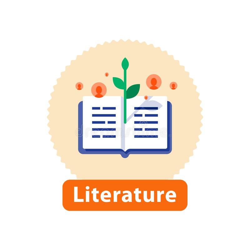 Open book, literature reading, storytelling and writing, education concept, vector icon. Literature reading, open book, storytelling concept, bookstore best vector illustration