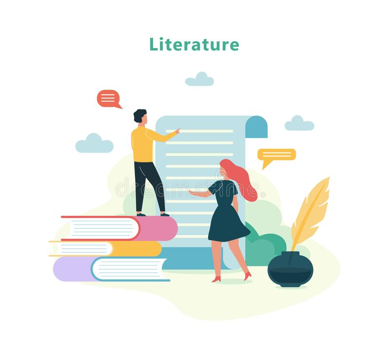 Literature school subject. Idea of education and knowledge royalty free illustration