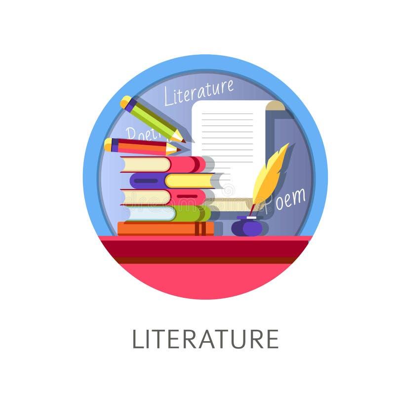 Literature subject studies themed concept logo royalty free illustration