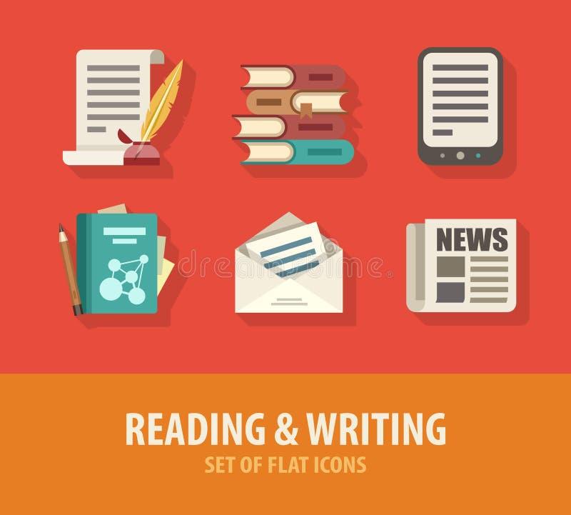 Literaturlesung und Schreibenssatz flache Ikonen stock abbildung