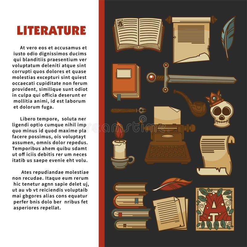 Literatury promo sztandar z antycznymi manuskryptami i książkami ilustracji