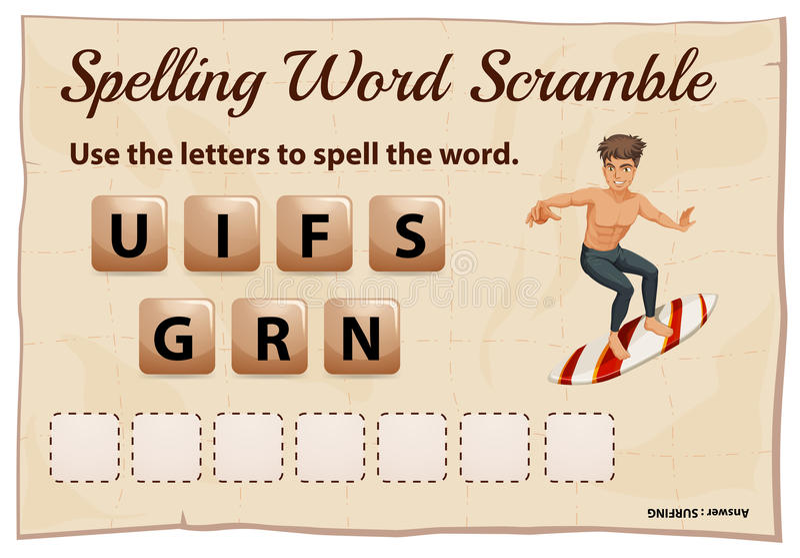 Literować słowo wspinaczkę dla słowo surfingu royalty ilustracja