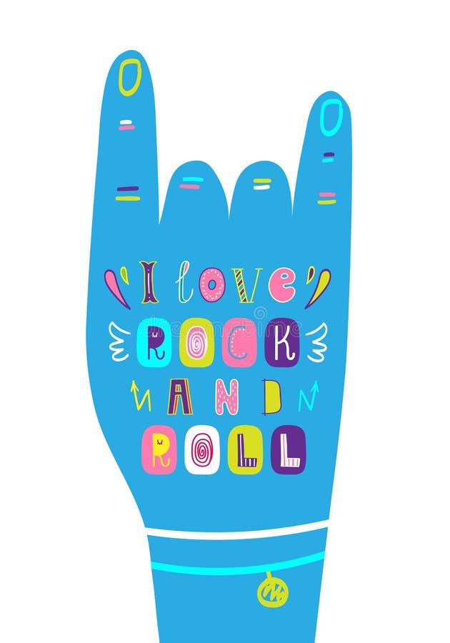 Literowań dzieci plakat kocham rock and roll royalty ilustracja