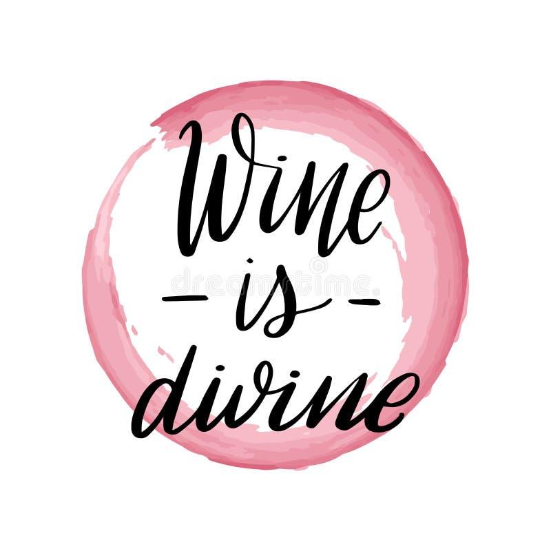 Literowania wino jest boski royalty ilustracja