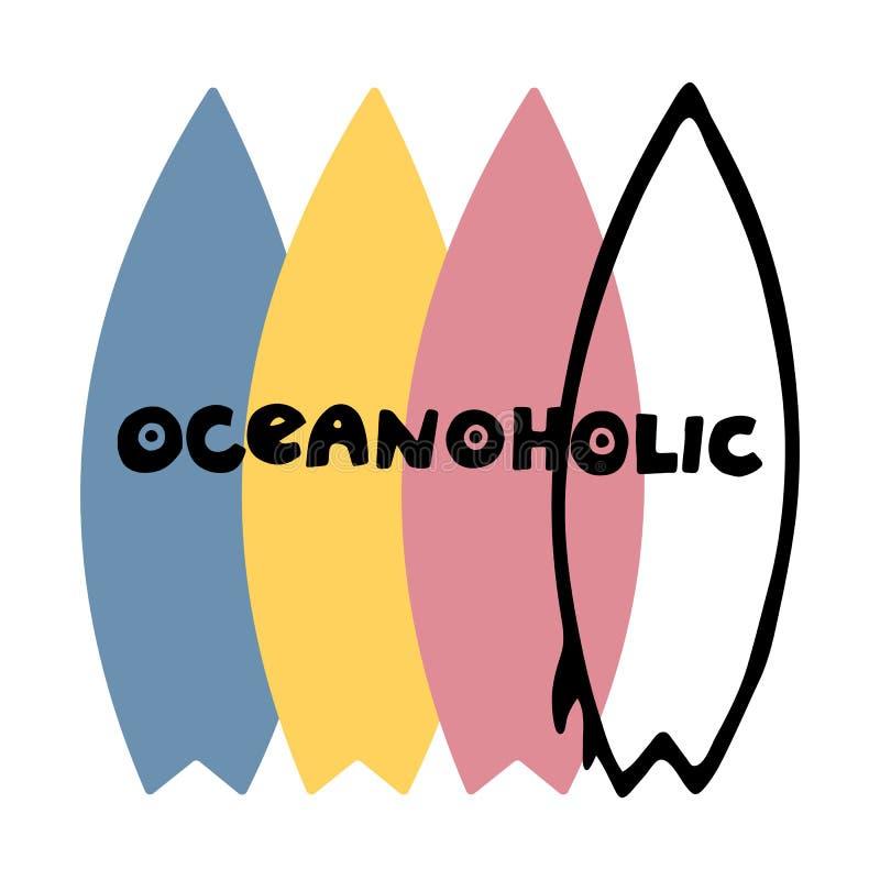 Literowanie logo oceanoholic, ręka kreślił kartę ilustracji