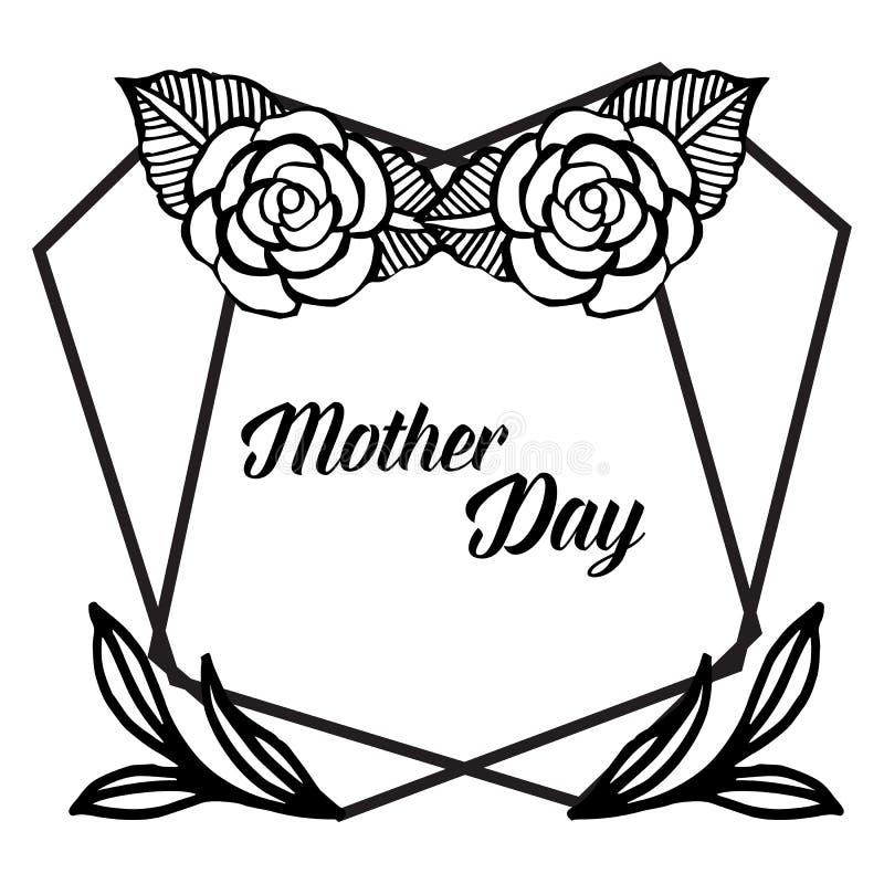 Literowanie macierzysty dzień, dekoracja elegancka z piękną kwiat ramą dla kształta karta, wektor royalty ilustracja