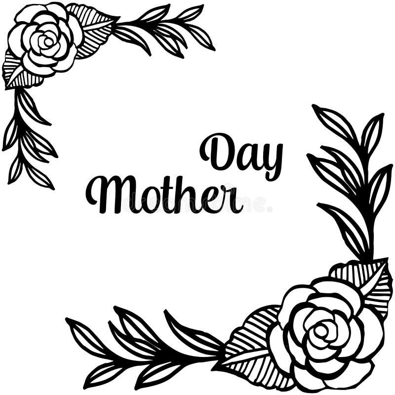 Literowanie macierzysty dzień, dekoracja elegancka z piękną kwiat ramą dla kształta karta, wektor ilustracji