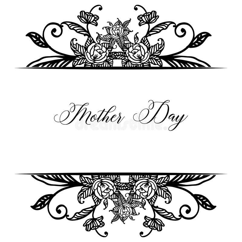 Literowanie macierzysty dzień, dekoracji kartka z pozdrowieniami wzór, z wianek ramą i liśćmi wektor ilustracji