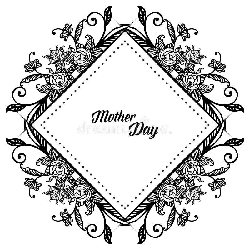 Literowanie macierzysty dzień, dekoracji kartka z pozdrowieniami wzór, z wianek ramą i liśćmi wektor royalty ilustracja