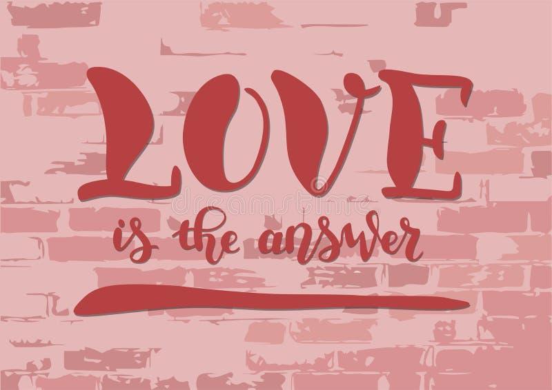 Literowanie miłość jest odpowiedzią w menchiach z cieniami na cegły ścianie royalty ilustracja