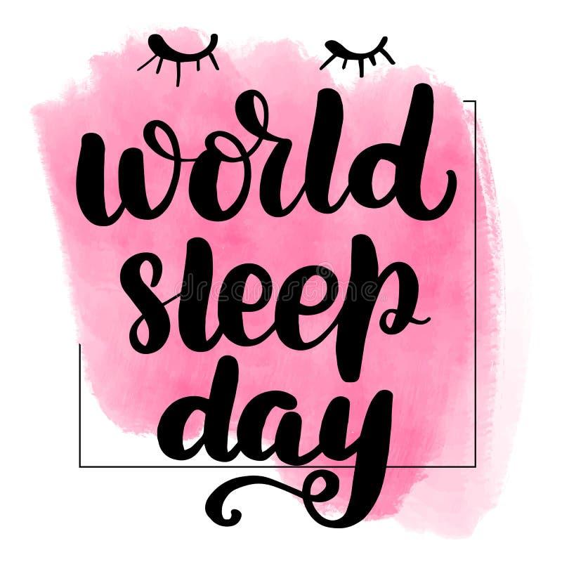 Literowanie sen światowy dzień ilustracja wektor
