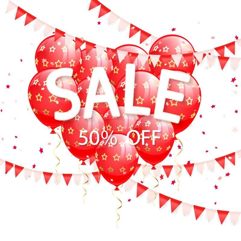 Literowanie sprzedaż z banderkami i czerwień balonami ilustracja wektor